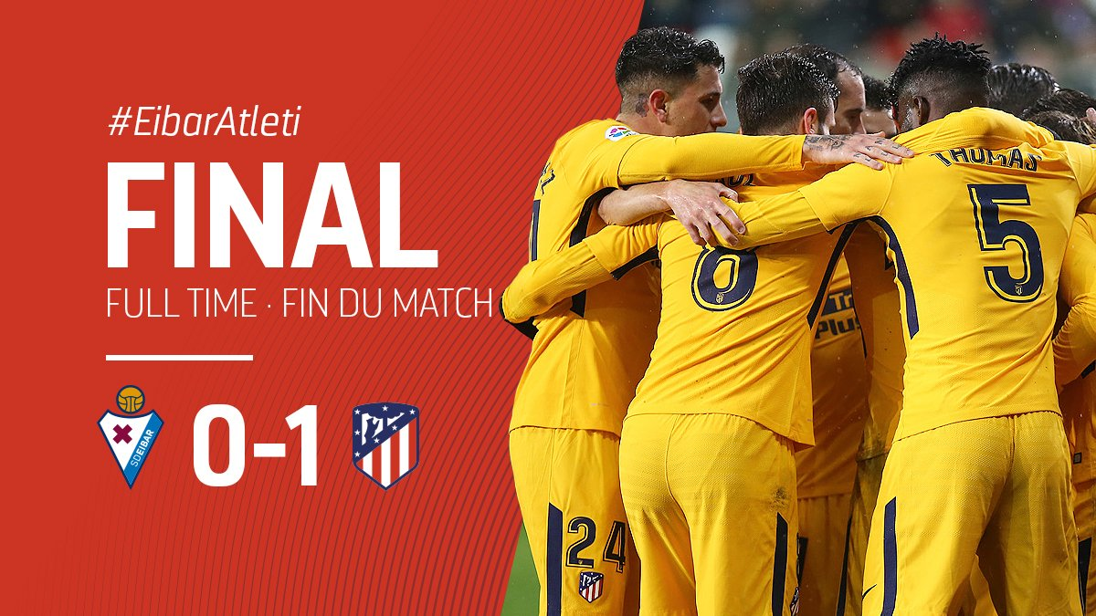 RT @AtletiFR: ⏱ 93' | 0-1 | 🔴⚪ FIN DU MATCH! On rentre à Madrid avec les 3⃣ points! 💪🏼 #EibarAtleti #AúpaAtleti https://t.co/EE9P9oq2Q0