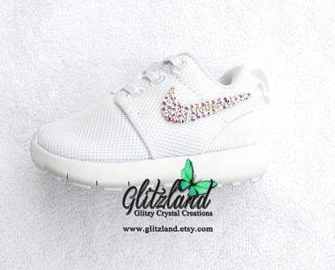 Excited To Share The Latest Addition To My  Etsy Shop  Swarovski Nike Baby    Toddler White Roshe Blinged With AB Swarovski Crystals. a9fb5537f
