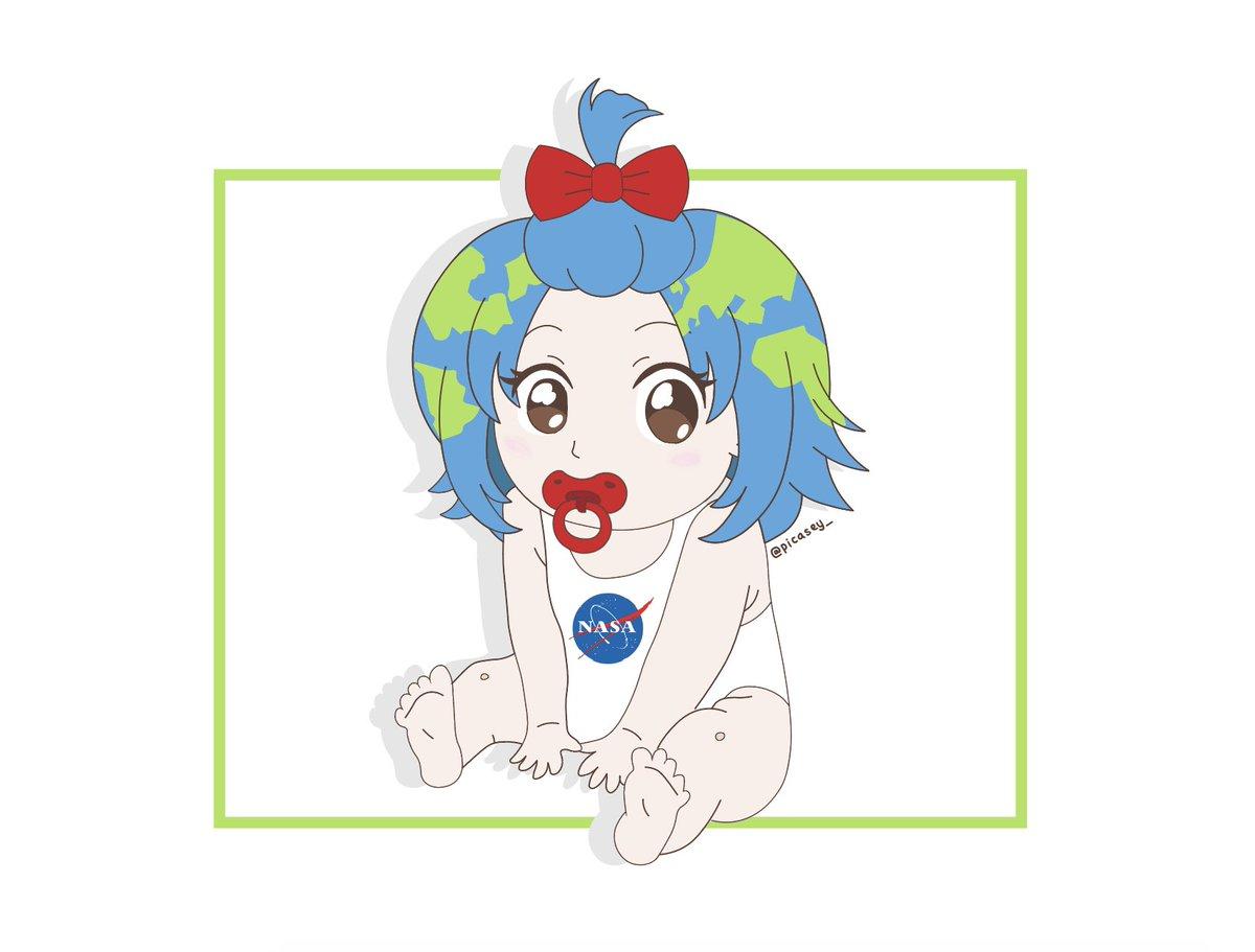 Earth Chan On Twitter Smol Earthchan Moonchan Art Anime Credit Picasey