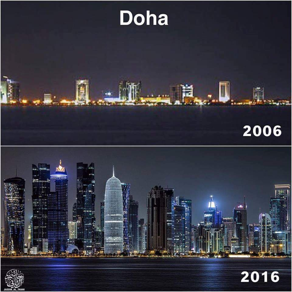 IMAGE: Qatar's capital in 2006 and 2016