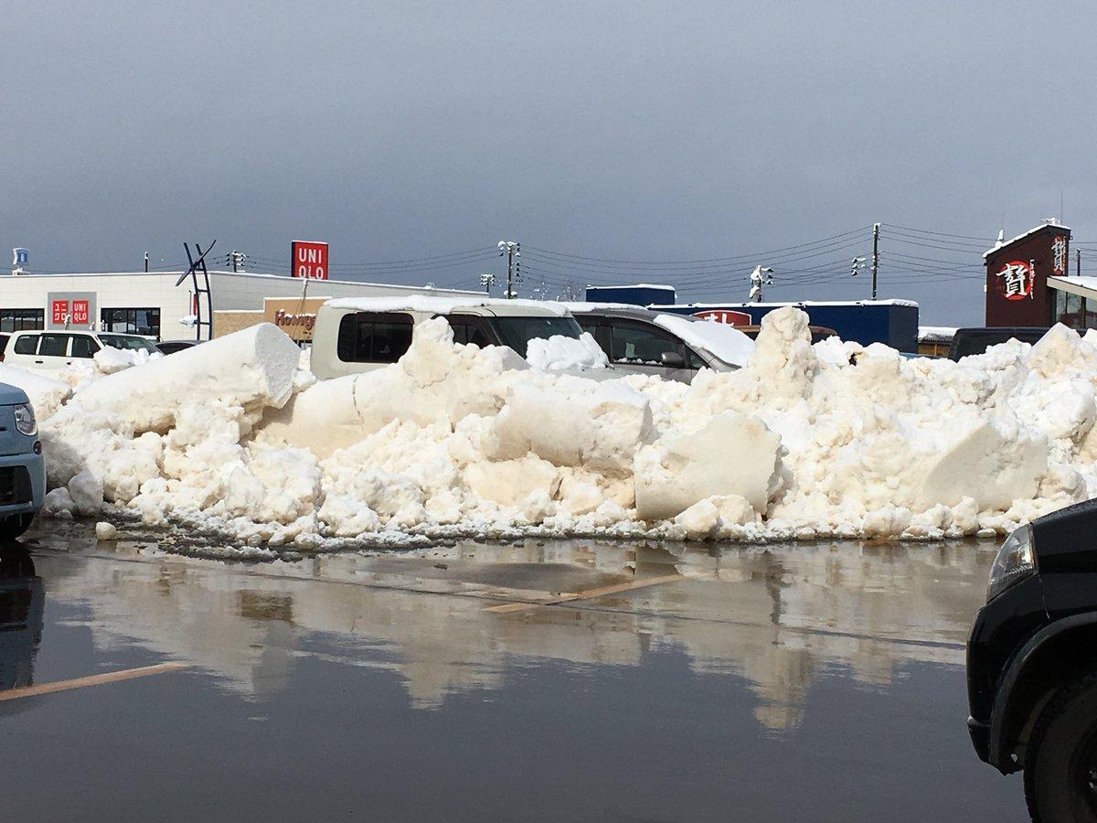 スーパーの駐車場に無断駐車していたと思われる車が雪国ならではの刑を執行されてた