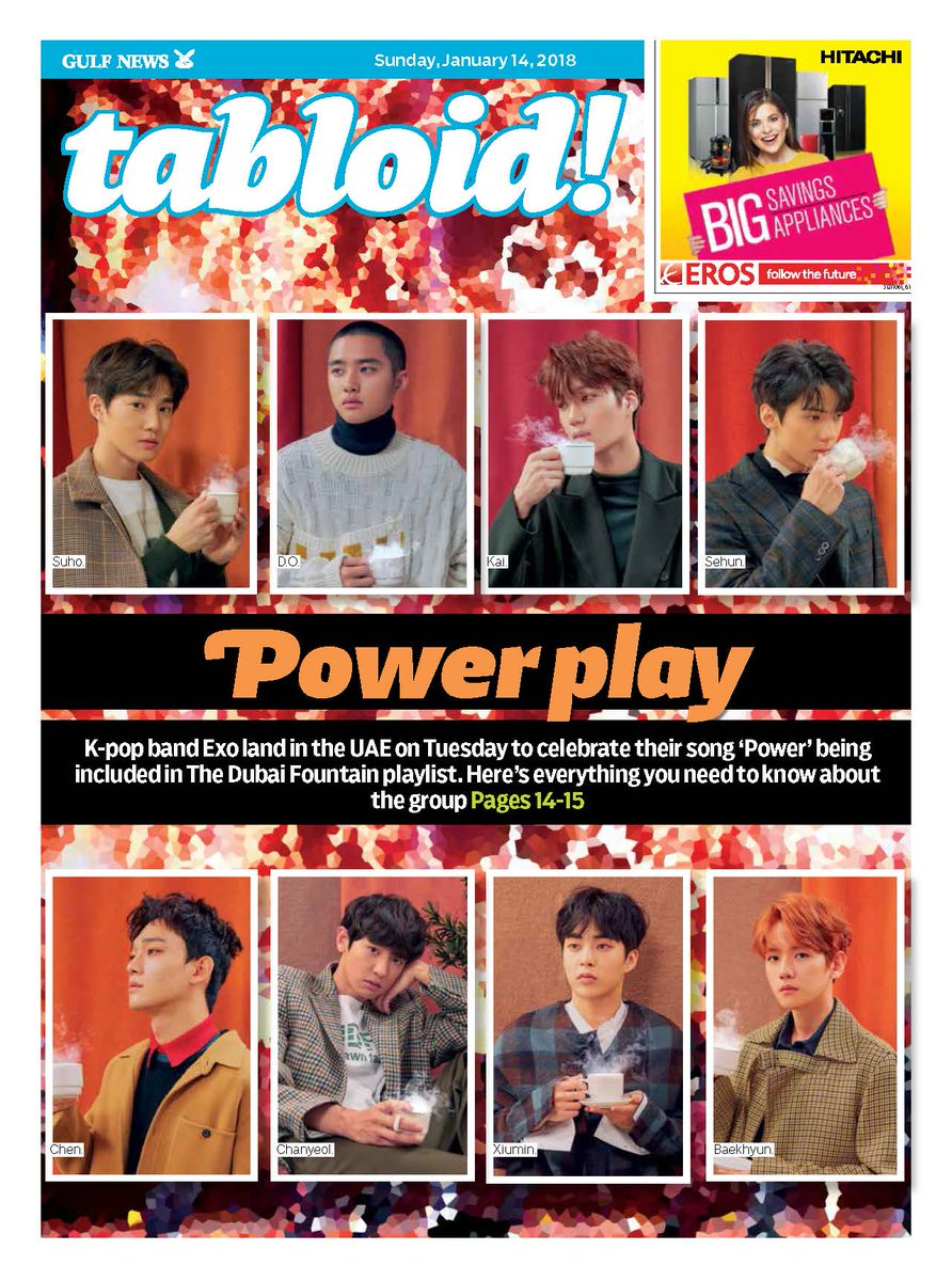 Are you ready? Ahead of the arrival of @weareoneEXO (to launch their song at the #DubaiFountain on Tuesday), we look at what makes this #Kpop band one of the coolest groups out there: #TabloidCover https://t.co/s19G6Ovs9Y