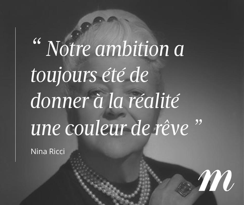Aujourd'hui, #NinaRicci aurait eu 135 ans. Joyeux anniversaire 🌹#Hommage #Citation