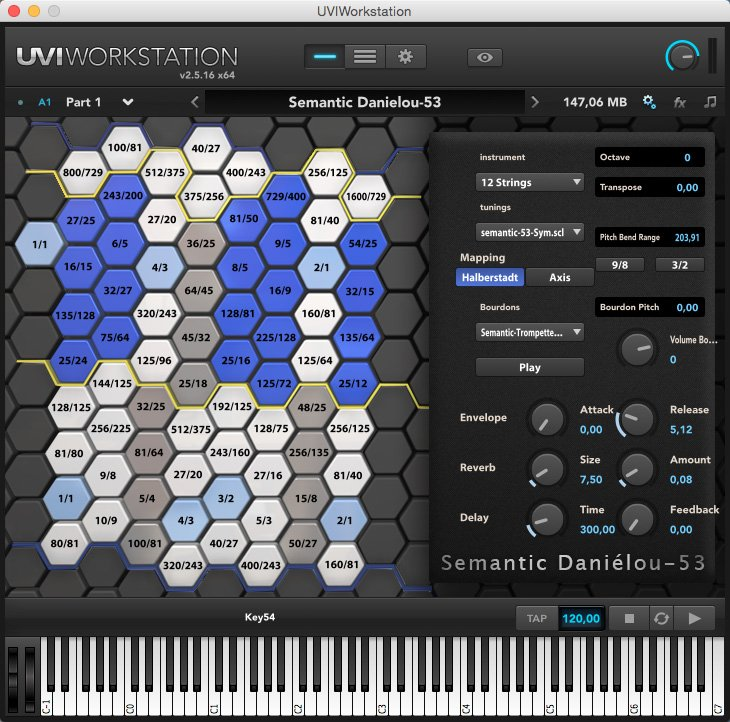 Semantic Daniélou-53 微分音を用いた28音のデータベースを収録した音源。72種類のチューニングが用意されており、不思議なサウンドを鳴らすことが出来ます。 UVI Workstationが必要です。 https://www.semantic-danielou.com/semantic-danielou-53/download-and-installation-semantic-danielou-53/…pic.twitter.com/phY1WlCm8i