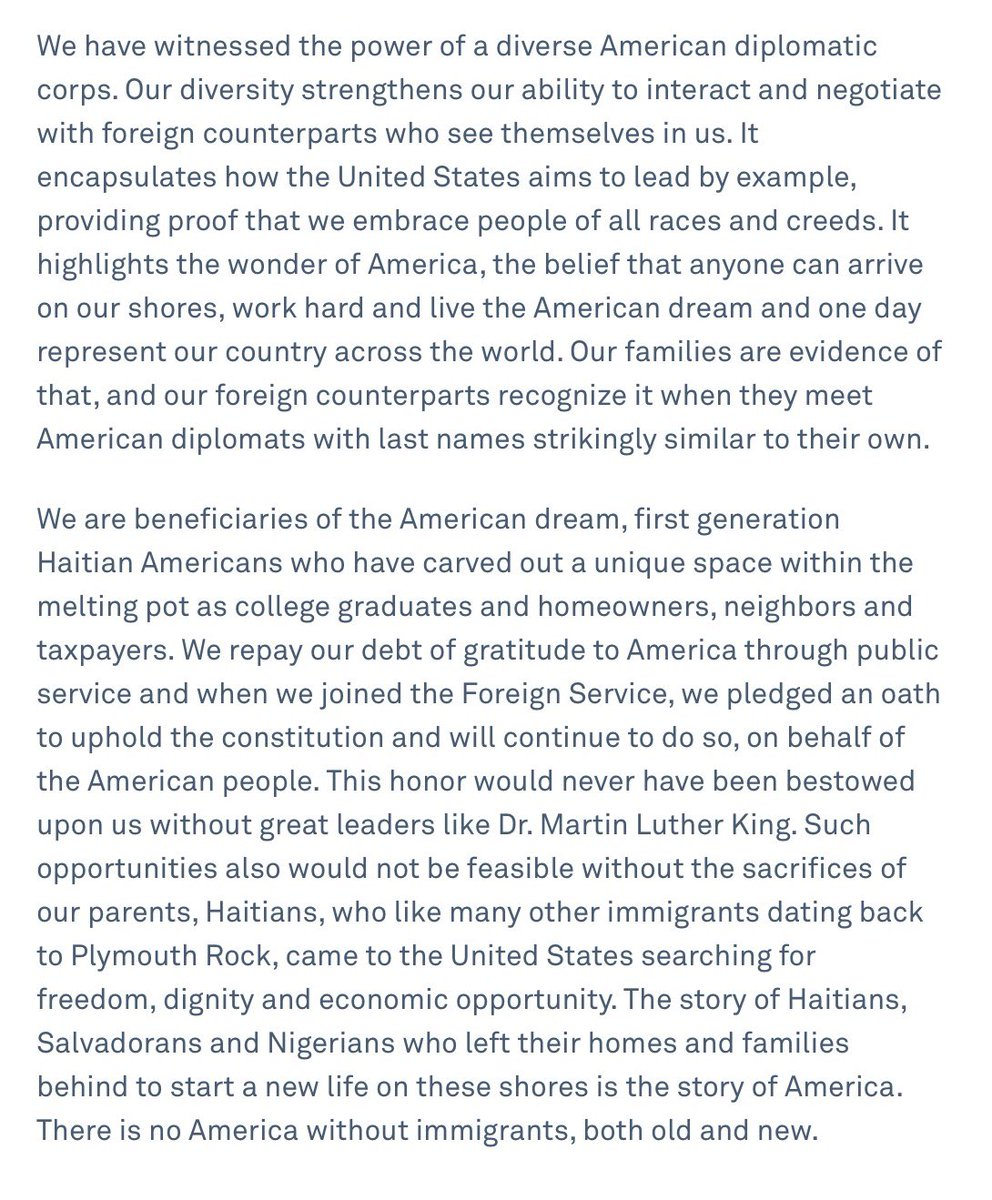 This is the letter I just talked about on @MSNBC with @PoliticsNation. A group of Haitian American diplomats working for the United States released a letter expressing their dismay at the President's comments. https://t.co/5ROjoyo4fw