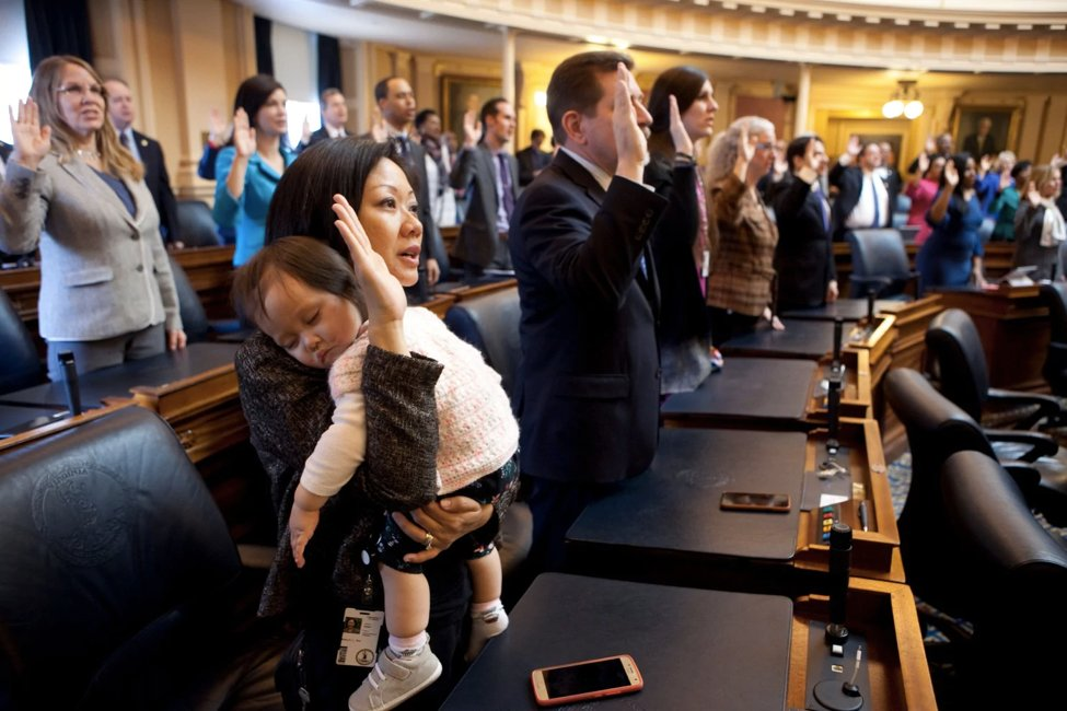 A bright spot in a dark week: Here's @kkltran holding her daughter Elise during her swearing-in ceremony at the VA General Assembly. She's one of the 11 Democratic women who flipped seats from red to blue in the VA House in 2017. https://t.co/eXXcS4IA0N