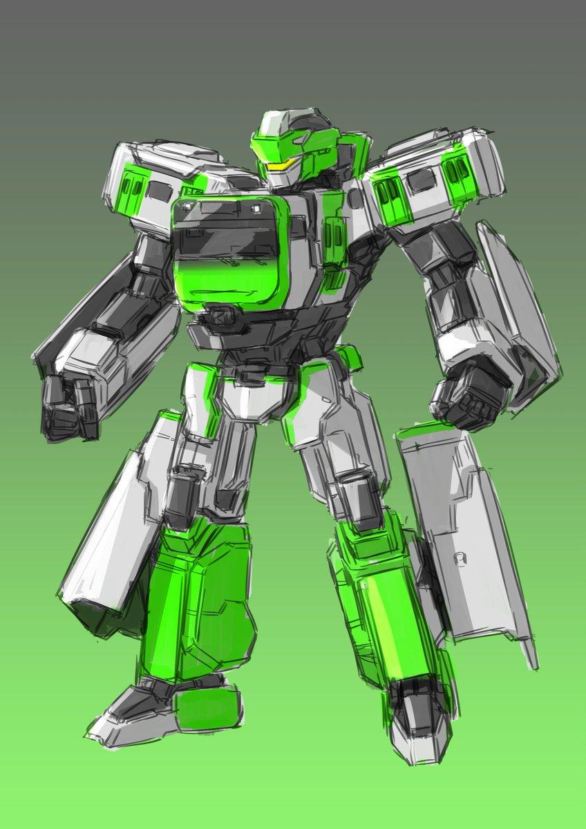 バチガミの脅威から首都東京を防衛するため、 シンカリオンの技術を応用し完成した量産機。  その名も...  在来線変形ロボ「ザイライン E235系 ヤマテ」!!  っていう妄想。