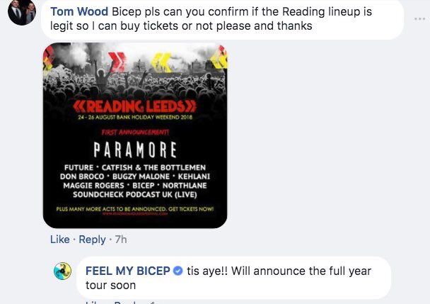 Wow! Apparently we're on the #RandL18 lineup?! News to us...🙄 Thanks for confirming @feelmybicep!