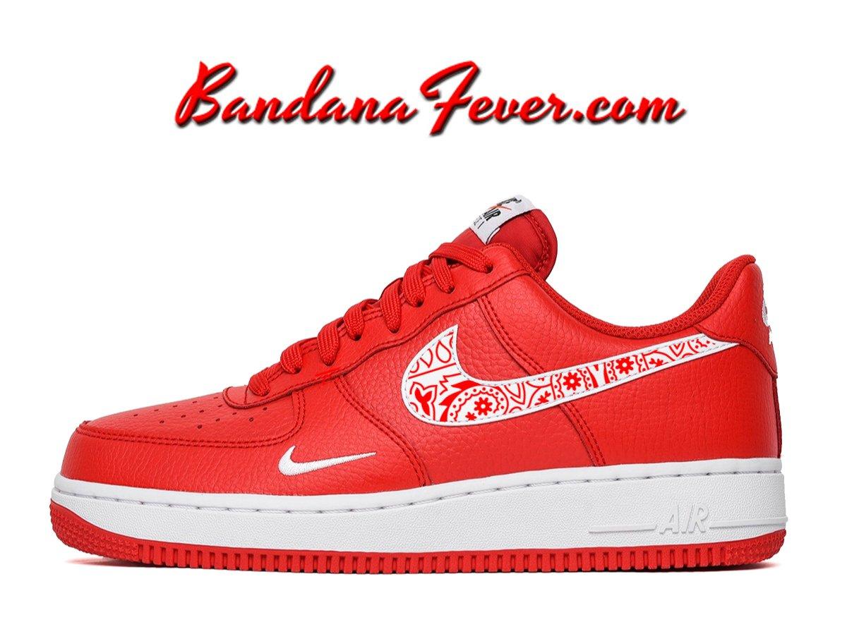 Custom Red Bandana Nike Air Force 1 Shoes University Red Low, #paisley,  #bandanna, by Bandana Fever #love #paisley #swag #hypebeast #shoesart  #fashionshoes ...