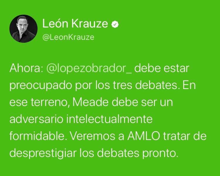 RT @LillyTellez: ¿Es solo mi percepción o @LeonKrauze está embelesado con Meade? https://t.co/wwI8605Gor