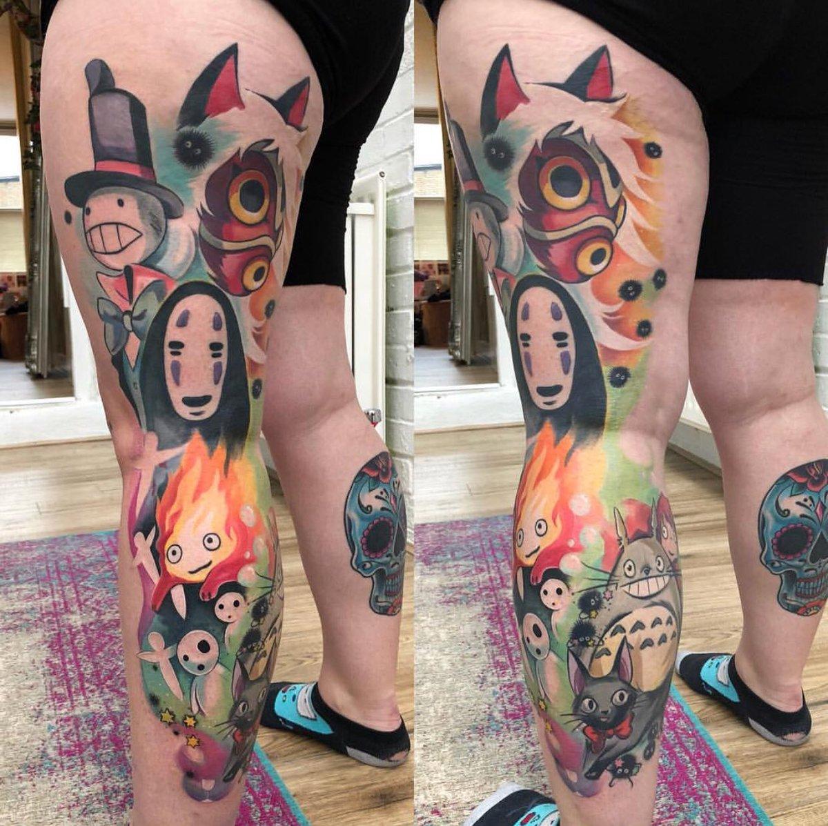 30d31420a Check out this epic #studioghibli #tattoo by shop owner @TiggyTattoos  #Ghibli #mononoke #Totoro #briarrosetattoo #colour #vibrant #bright  #animation #anime ...