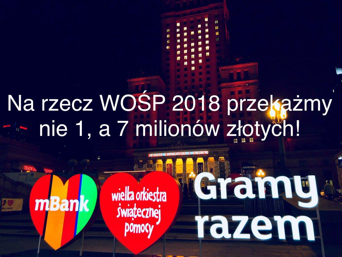 RT @mBankpl: Na rzecz 26. Finału WOŚP Przekażemy nie 1, a 7 milionów złotych!!! ❤️❤️❤️ #gramyrazem #wosp2018 #mbank https://t.co/tsyyq36JD4