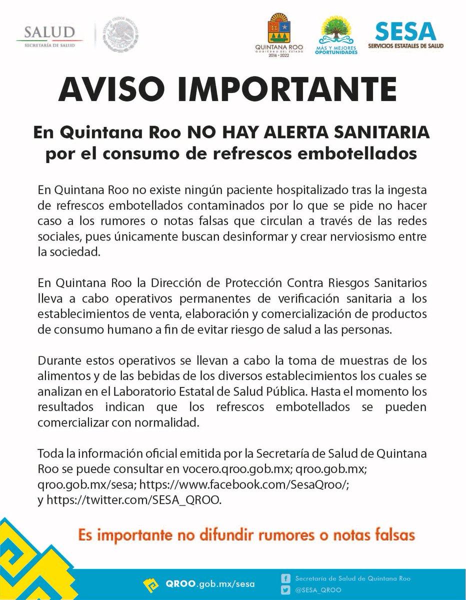 #AVISO En Quintana Roo no hay alerta san...