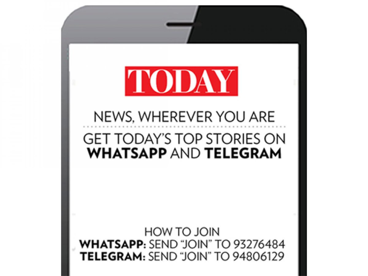 Get TODAY on your mobile devices via WhatsApp and Telegram. Send 'JOIN' to 9327 6484 on WhatsApp or send 'JOIN' to 9480 6129 on Telegram.