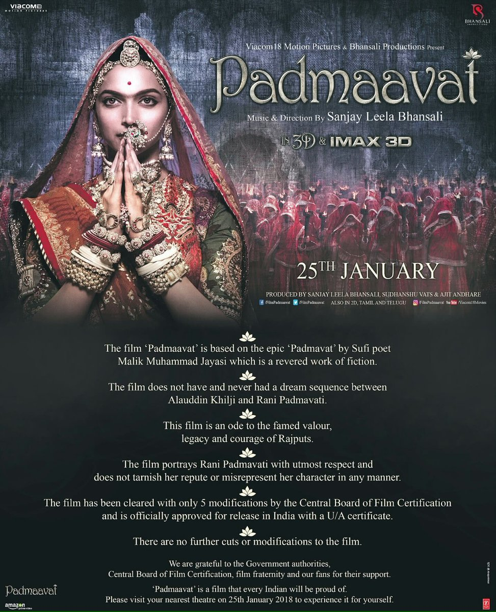 The deepika fc on twitter all the disclaimers in padmaavat 1betcityfo Choice Image