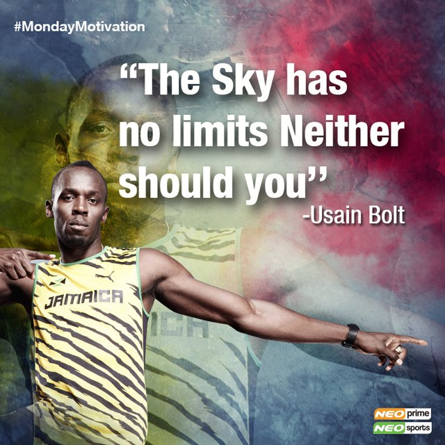 Usain Bolt quote that will challenge you to strive further and think bigger. #sprinter #mondaymotivation #monday