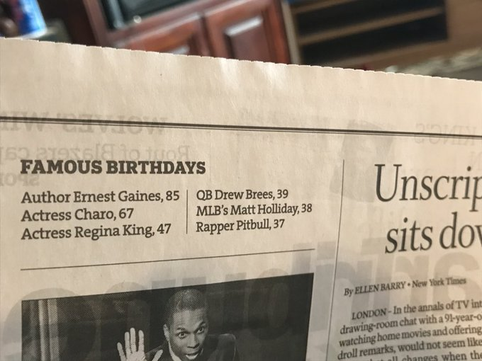 2 things: 1) I thought Pitbull was like 53 2) Happy Birthday Drew Brees