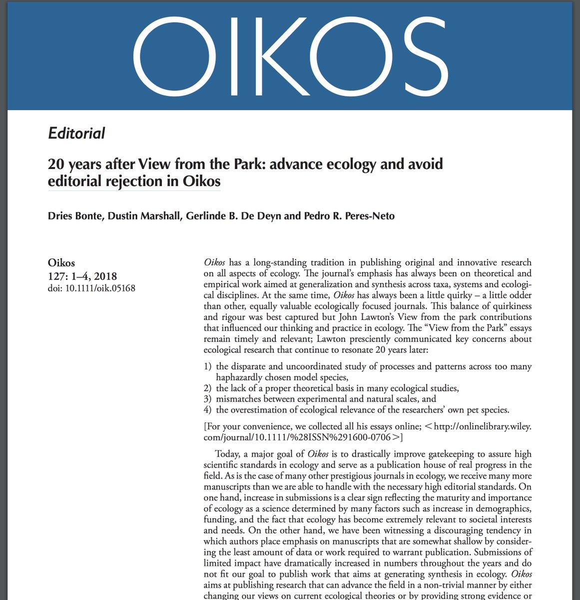 oikos synthesising ecology 3 (online) 58 nature and resources 0028-0844 59 nature environment and pollution technology 0972-6268 60 oikos synthesising ecology 0030-1299.