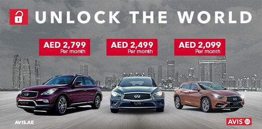 avis car rental uae on twitter unlock the new offers on infiniti q30 q50 qx50 30 000 km 13. Black Bedroom Furniture Sets. Home Design Ideas