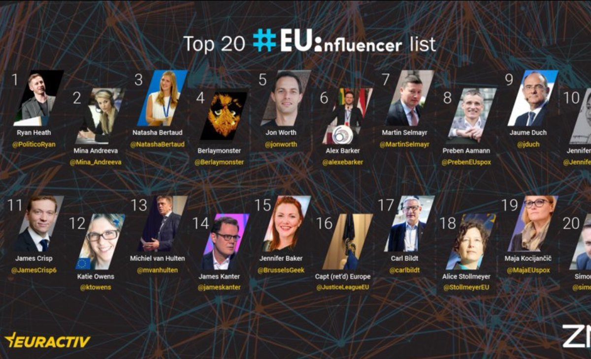 I see that I have ended up on the list of top 20 #EUinfluencer.  On social media, I assume.