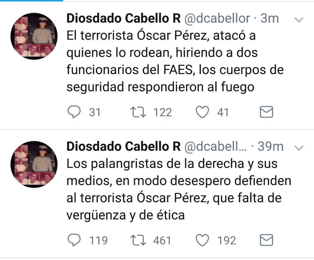 """AlbertoRodNews в Twitter: """"ÚLTIMA HORA   Diosdado Cabello sobre  enfrentamiento contra Óscar Pérez: """"El terrorista Óscar Pérez atacó a  quienes lo rodean, hiriendo a dos funcionarios del FAES. Cuerpos de  seguridad respondieron""""…"""