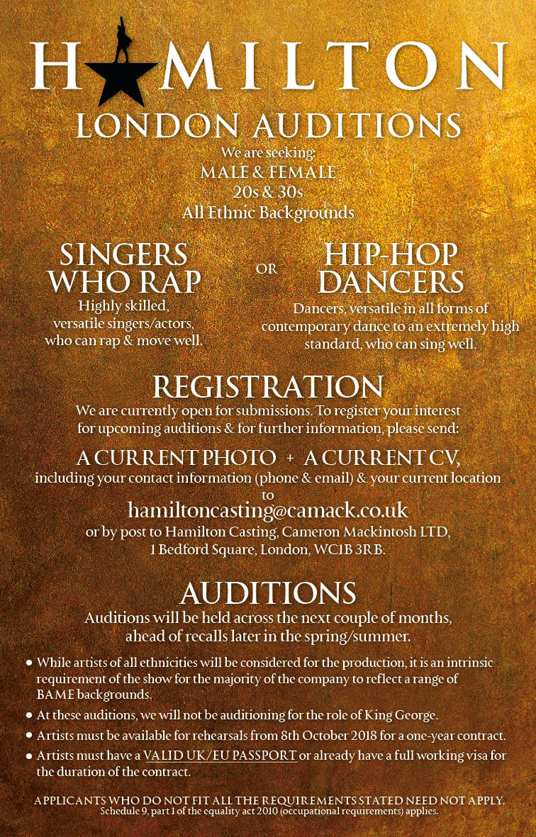 Don't throw away your shot - #HamiltonLDN is auditioning.