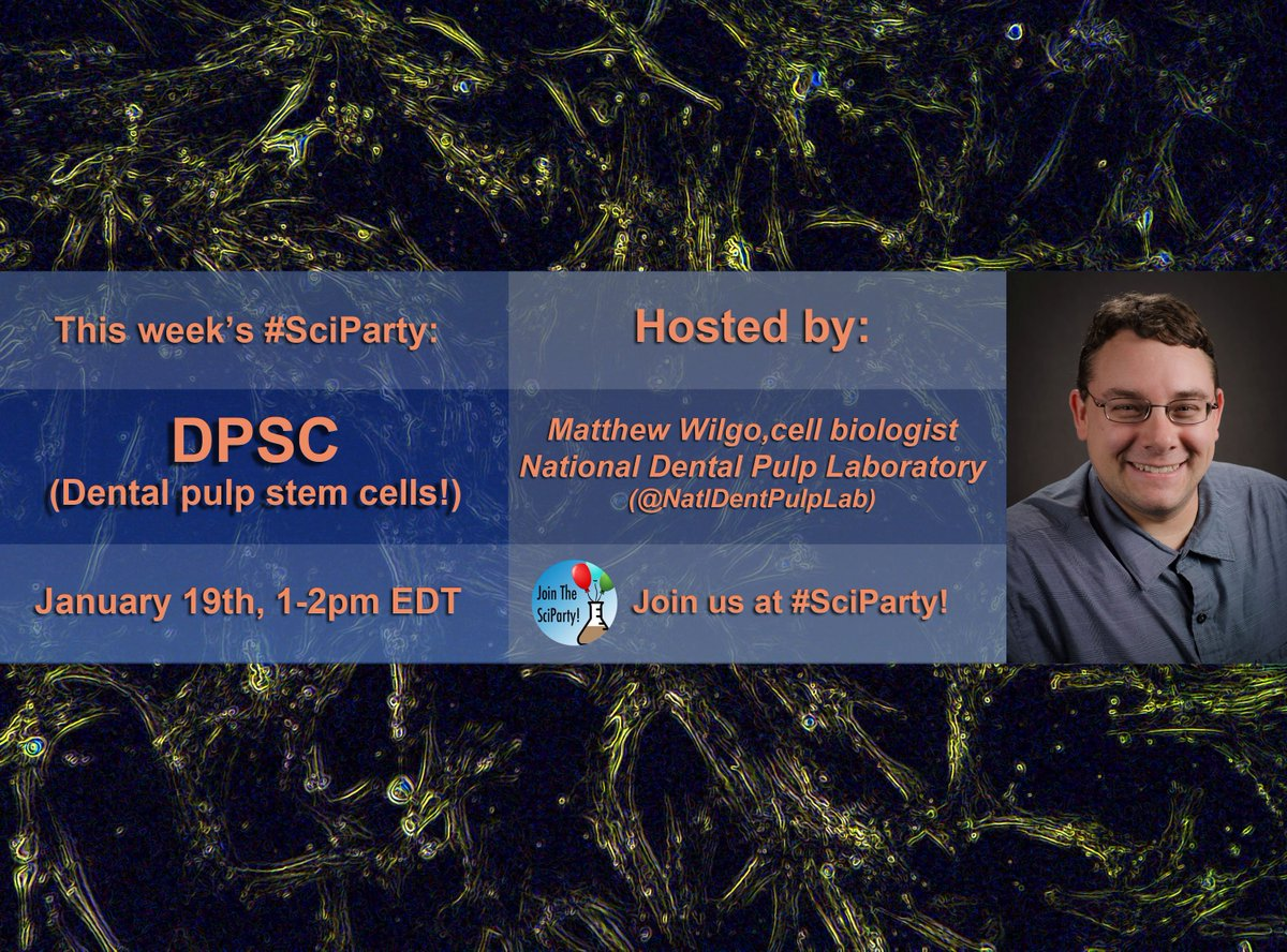 Join the #SciParty this Friday, Jan 19th 1p EST and learn about the wonderful world of dental pulp stem cells! Hosted by Matthew Wilgo, cell biologist at @NatlDentPulpLab #stemcells #dentalstemcells<br>http://pic.twitter.com/HohPnDZixN