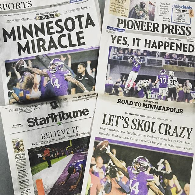 """#repost from @derushaj: """"Collect them all. I think the @pioneerpress sports section wins, you? #Vikings"""" https://t.co/ScFmIxmopQ"""