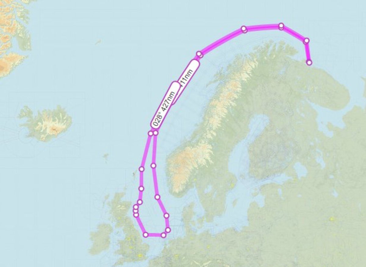 Approximate route of the two Russian Tu160 strategic bombers today.