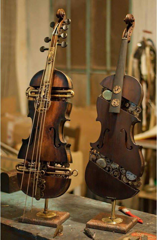 #Steampunk Awesome of the Day: Wood Mechanical #Violin Twins with #Cogs and Built-in Pocket #Watch via @steampunkjnkies #SamaCuriosities