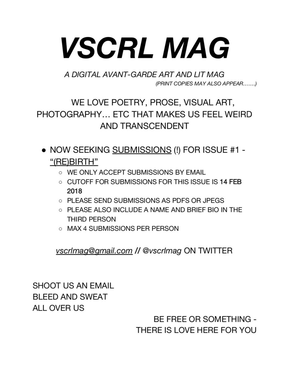 RT @VSCRLMAG: ya #poetry #poetrycommunity #submissions #callforsubmissions #mag #art https://t.co/gU3HR3sNVe