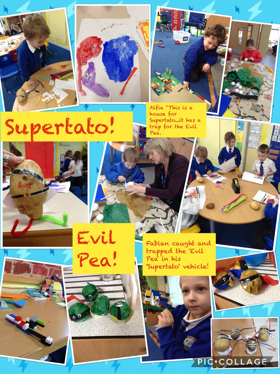 Our reception children have been hunting high and low for the Evil Pea! Building traps, writing labels and making models. Hopefully @Supertato_here will come to our rescue! @suehendra #eyfs #learning #Shropshire