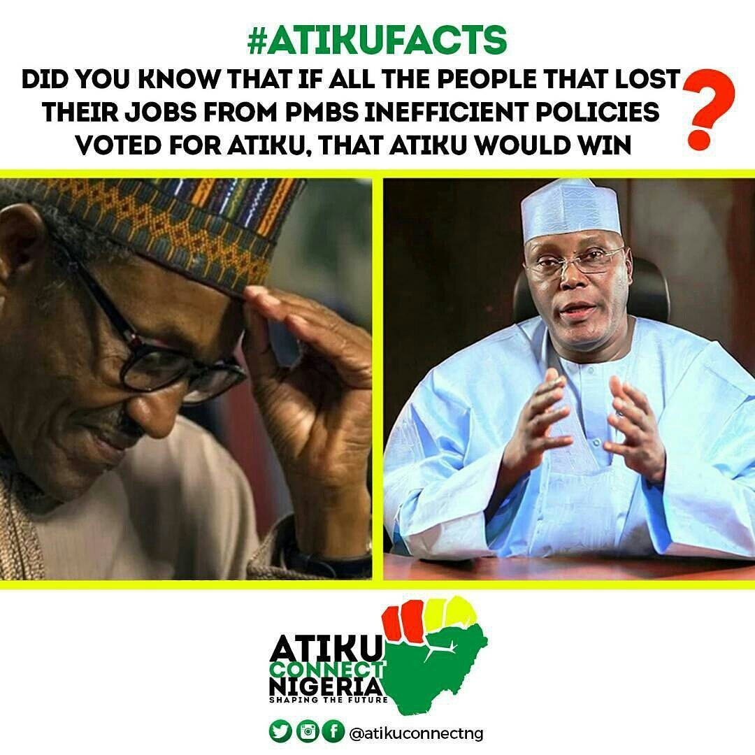 """from @atikuconnectng  -  As a candidate it is open knowledge that PBM promised Nigerians millions of jobs yearly _ What do we have today """"millions of job losses"""" _ Nigerians don't forget _ #changethechange  #aikufacts #atikuconnectnigeria #blueprintafric.com <br>http://pic.twitter.com/gMCUHk5IWO"""