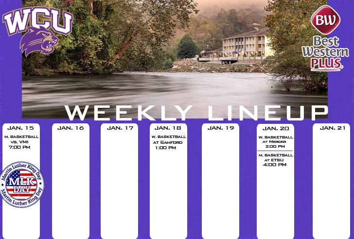 WCU Athletics Weekly Lineup (thru 1-21-18)