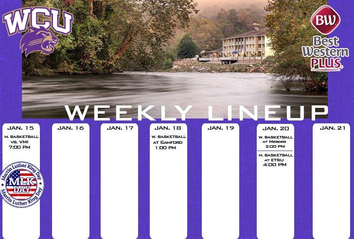 WCU Athletics Weekly Lineup (thru 1-21-18)