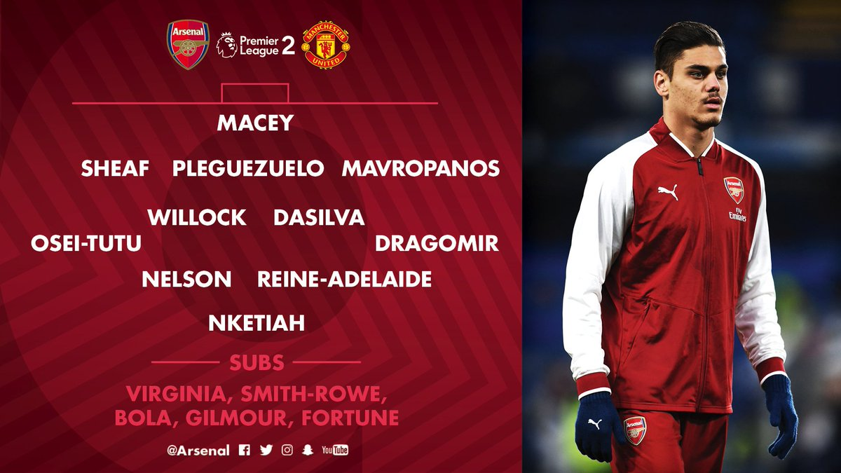 Arsenal On Twitter Here S How Afcu23 Line Up Against Manutd This Evening Remember You Can Watch The Game Live On Https T Co 4kjlfkw7rt Https T Co Xpdnrnqu91