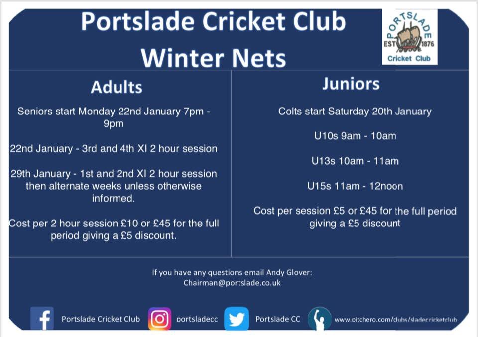Winter nets starting very soon ! Always on the look out for new players so please get in touch whatever age or standard. #slade