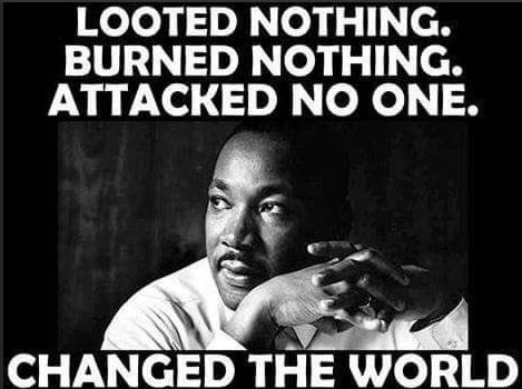 Martin Luther King Jr Looted nothing Burned nothing Attacked no one  and he changed the world  #MAGA #MLKJrDay  #BlackLivesMatter   #Resist the #Resistance #Antifa<br>http://pic.twitter.com/1lvltTjmtE