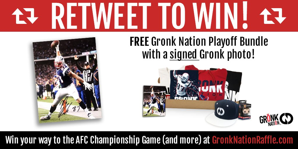 RETWEET this post to for your chance to win a https://t.co/KDXhzPpJOz playoff bundle and a Signed Gronk Photo Winner will be picked Tuesday night at 12pm EST  To win tickets to the Championship game this week and donate to Children's Hospitals check out:  https://t.co/kptIwmB9Oa
