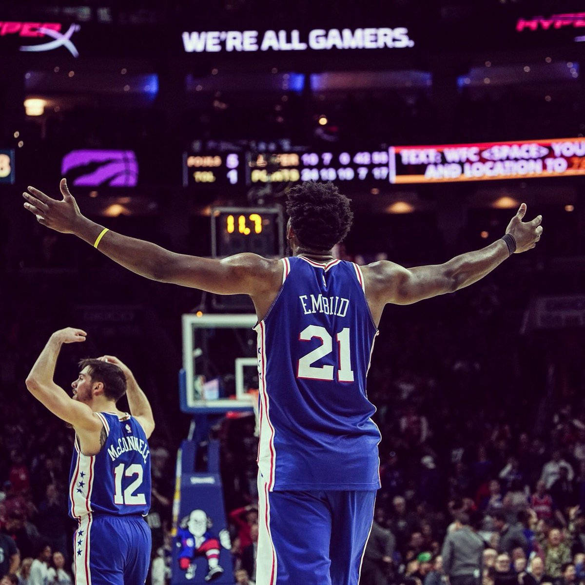 The GOAT in front of Joel hyping up the crowd #BurnerAccount #TheProcess