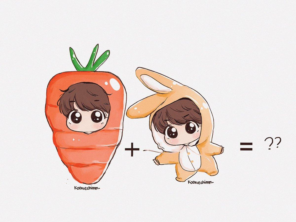 Carrot + Bunny kook ??😭😭🐰💕💕 #BTS #fanart...