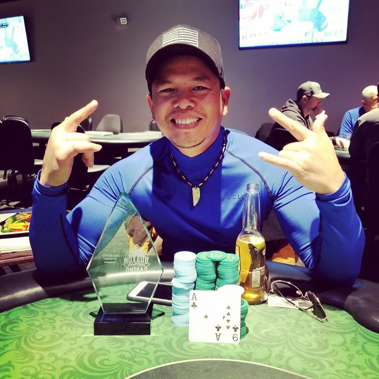 Congrats to Taurich Hadiwijaya for taking home 1st place in our MLK Jr Day Tourney.  Great tournament today w/ 63 players &amp; total prize pool of $12,600.  Taurich took home $3,780 &amp; the big trophy!  #poker #pokerface  #pokerstars #pokergrind #allin #tournament #pokertournament<br>http://pic.twitter.com/35aNpJIiiH