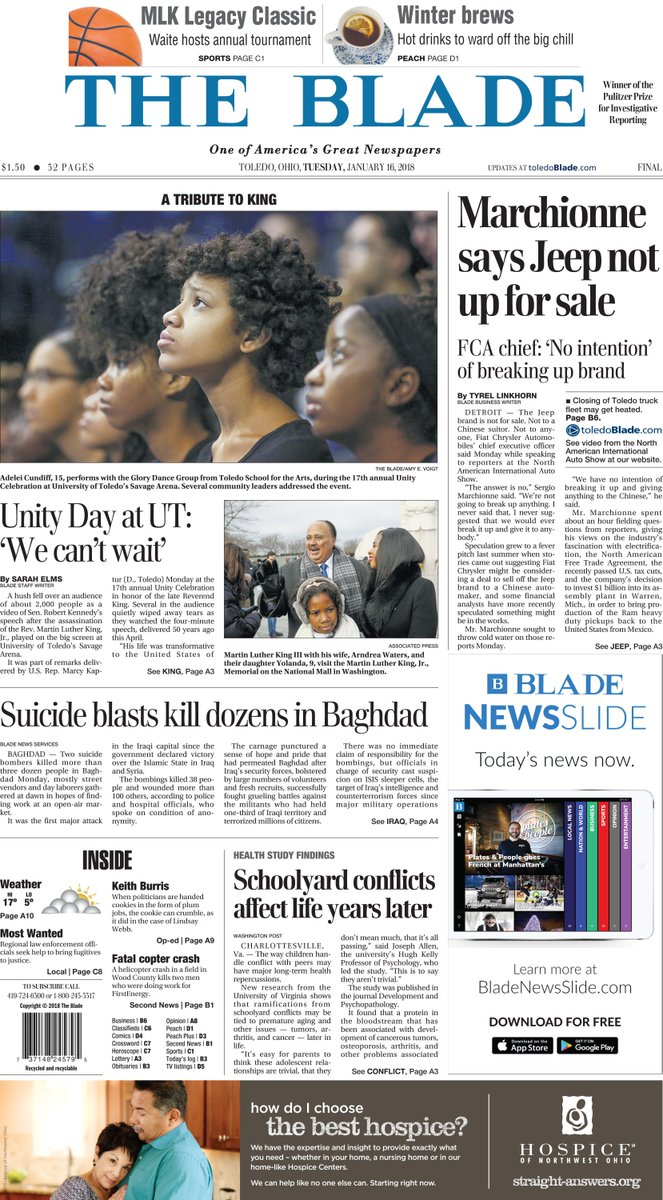 Tomorrow's news today: A look at Tuesday's front page of The Blade. #Toledo419 https://t.co/INNbcJ6U1t
