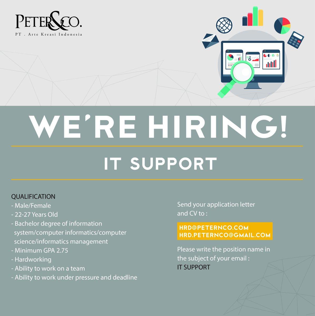 Yola Anggraeni On Twitter We Re Hiring It Support Peternco