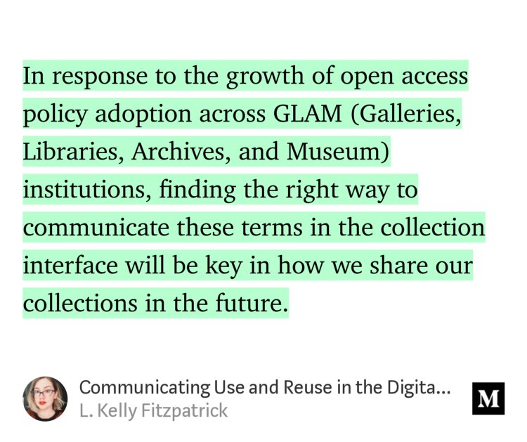 """Communicating Use and Reuse in the Digital Collection Interface"" — L. Kelly Fitzpatrick https://t.co/ByRyKrYPgt https://t.co/sAvSWNropw"
