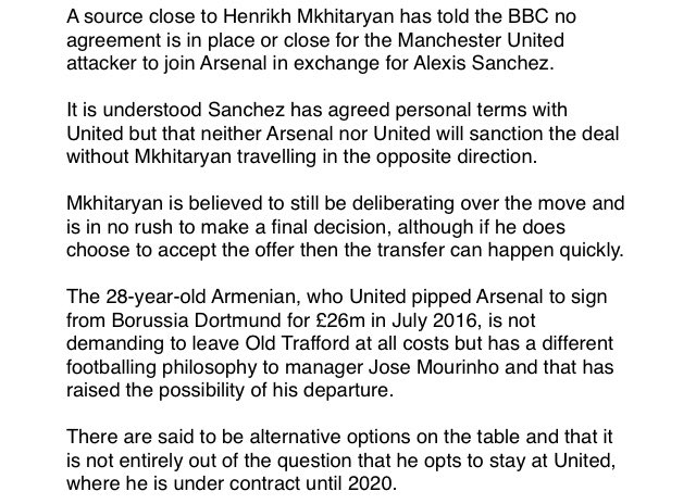 No Agreement In Place Or Close For Mkhitaryan To Join Arsenal From