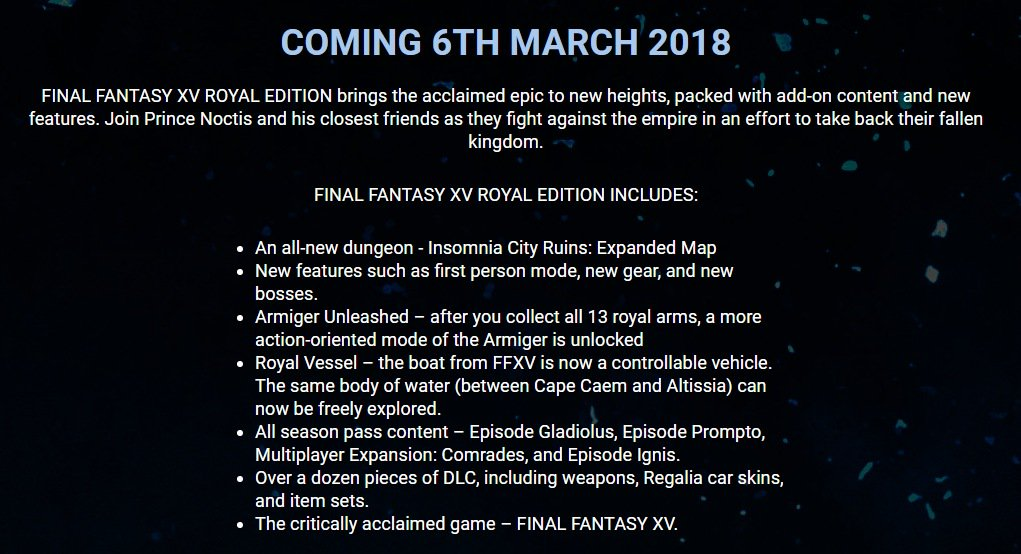 final fantasy 15 royal edition content on disc