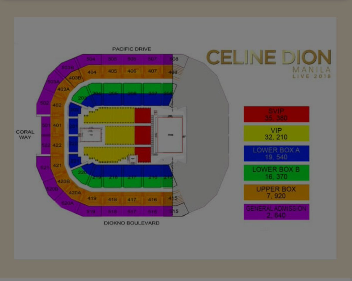 Philippine Concerts On Twitter Seat Plan For Celine Dion