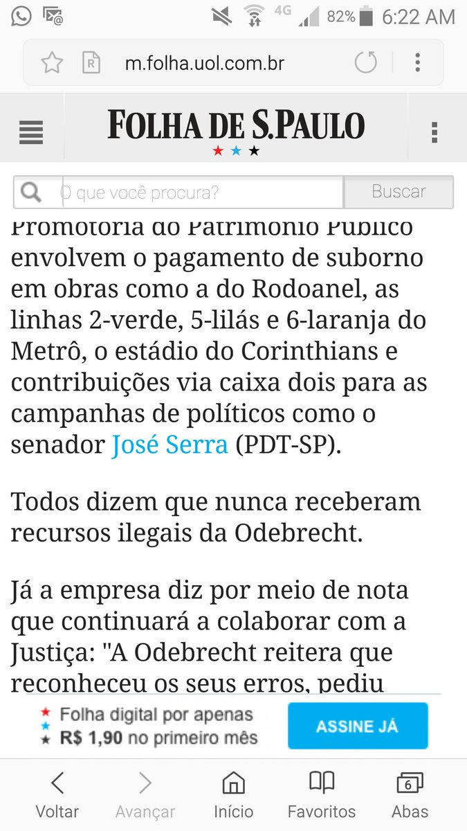 A Folha acaba de filar José Serra ao PDT. Tem razão. Escândalo da Odebrecht não poderia jamais envolver um tucano.