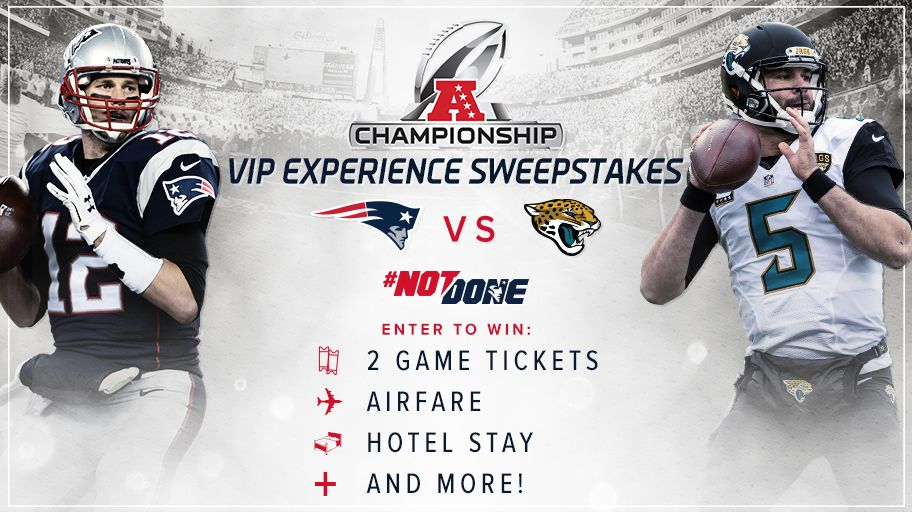 46929713b Tickets. Pregame passes. Flights   hotel. And much more. Enter to be here  for the AFC Championship Game  http   bit.ly 2D4e9o3  pic.twitter.com NIdQCaafY1